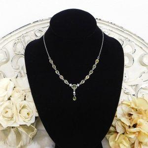 Victorian Peridot Style Bib Necklace Antique Gold